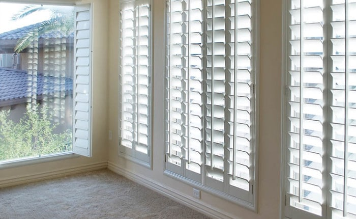Faux wood plantation shutters plantation shutters home depot design inexpensive blinds vinyl - Plantation shutters kits ...